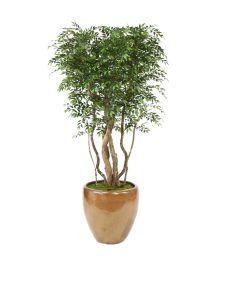 9' Ruscus Tree in Metallic Mocha Stoneware Planter