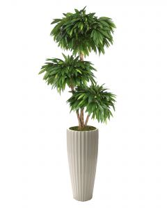 6' Layered Mango Tree in Glazed White Earthenware Highland Floor Vase