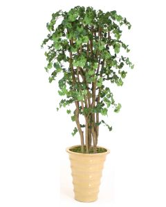 7' Ginko Tree in Metallic Bronze Stoneware Planter