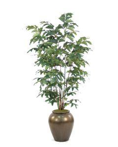 6' Fishtail Palm Tree in Metallic Bronze Stone Water Planter