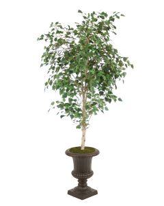 7.5' Birch Tree in Small Rust Finish Resin Classic Urn