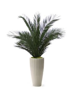 6' Phoenix Palm Tree in Glazed White Earthenware Highland Floor Vase