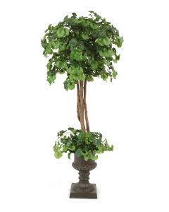 6' Ginko Tree with Ground Cover Rust Finish Resin Classic Urn