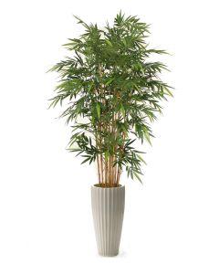 7' Natural Bamboo Tree in Glazed White Earthenware Highland Floor Vase
