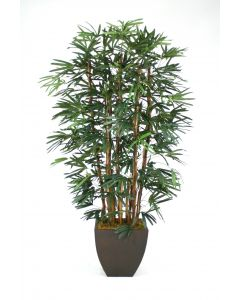 8' Raphis Palm Tree In Bronze Metal Contempo Planter