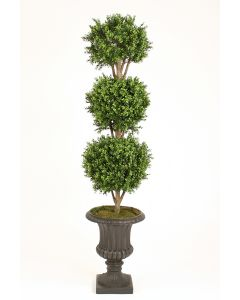 Boxwood 3 Ball Topiary in Rust Finish Resin Classic Urn