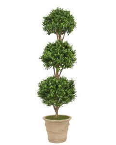 Boxwood 3 Ball Topiary in Brown Clay Garden Planter