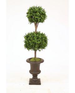 "63"" Boxwood Double Ball Topiary in Rust Fiberglas Classic Urn"