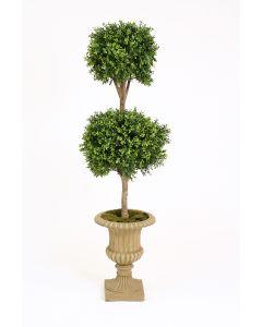 "63"" Boxwood Double Ball Topiary in Tan Fiberglas Classic Urn"