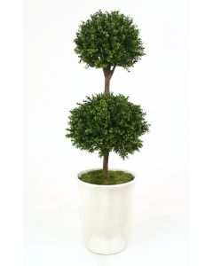"63"" Boxwood Double Ball Topiary in White Concrete Urn"
