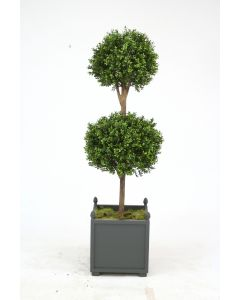 "60"" Boxwood Double Ball Topiary in Gray Wooden Planter with Finials"