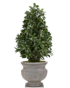 4.5' Laurel Pear-Shaped Topiary in Light Anthracite Round Atlanta Concrete Urn