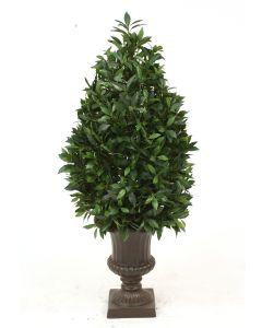 4.5' Laurel Pear-Shaped Topiary in Large Rust Fiberglas Classic Urn