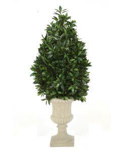 4.5' Laurel Pear-Shaped Topiary in Tan Resin Classic Urn