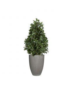 4.5 Laurel Pear Shaped Topiary in Grey Vertical Ridge Planter