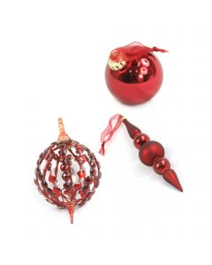 Designer Ornament Group featuring Red Finial and Oval Ornaments