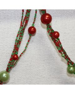 Designer Ornament Group featuring Red and Green Beaded Garland