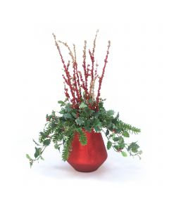 Holly Berry with Cedar and Bamboo Branches in Red Glass Vase