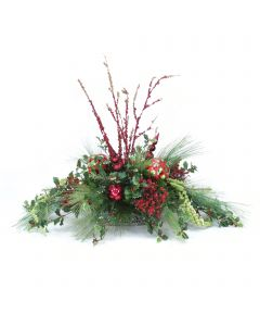 Holly Berries with Pine and Red Glittered Bamboo