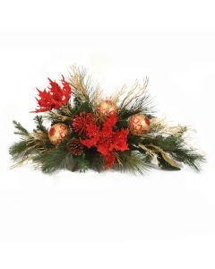Red Poinsettia Mantle Arrangement with Pine and Ornaments