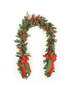 Mix Pine Garland with Red Berries and Red and Green Ribbon