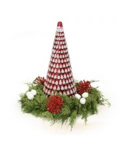Red and White Glass Christmas Tree with Green Cedar Tree with Red and White Accents