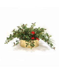 Mixed Pine with Holly in Brass Oval Planter