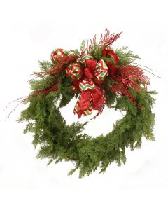 Pine Wreath with Red and Green Ornaments
