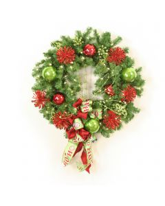 Red Glitter, Lime Green Christmas Wreath with Ho Ho Ribbon