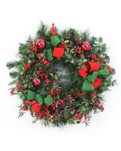 Mix Pine Wreath with Red Berries, Red Glass Ornaments and Red and Green Ribbon