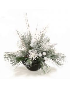 Snow Pine with White Glitter Accents in Black Container