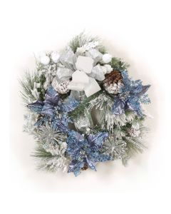 Snow Pine Wreath with Blue Poinsettias and Ribbon