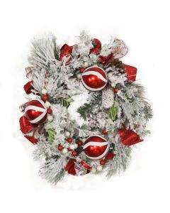 Snow Pine Wreath with Red and White Striped Ornaments and Ribbon