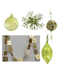 Designer Ornament Group featuring Assortment of Green Oraments Jewel Snowflakes, Glass Tear Drop Ornaments, Iridescent Ornaments, Beaded Green and Gold Ornament with Gold Square Garland