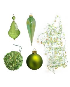 Designer Ornament Group featuring Assortment of Green Oraments, Sequins and a Crystal Drop and Green Garland and Lond Tear Drop Ornaments