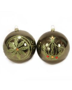 Designer Ornament Group featuring Green Glitter Ornaments