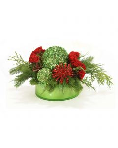 Red and Green Christmas Floral in Green Glass Bowl