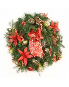 Pine Wreath with Mix of Green Ornaments and Red Flowers