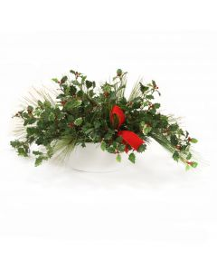 Pine Mix with Holly Berries in White Oval Planter