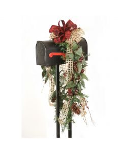 Mailbox Garland Adorned with Berries and Olives, Pine Cones and Ribbon