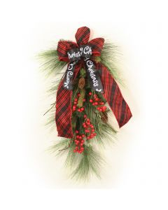 Long Needle Pine Swag with Weathered Red Berries with Ribbon
