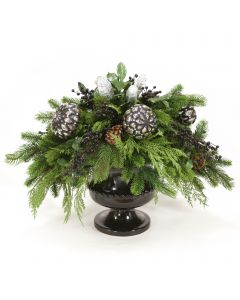 Mixed Pine with Black and Silver Ornaments and Black Berries in Black Urn