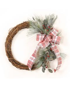 Snow Pine with Berries and Frosted Plaid Wreath