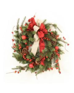 Hickory Pine Wreath with Crabapples and Ribbon