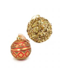 Designer Ornament Group featuring Gold Sequined Ornaments