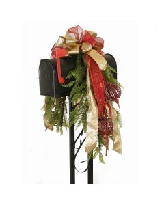Mailbox Garland Adorned with Red Jeweled Ornaments, Gold Glittered Ribbon and Red Glitter Ribbon