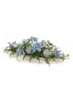 Light Blue Sequined Poinsettias with Gem and Silver Accents and Drooping Pine in Silver Tray