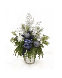 Blue Hydrangeas with Drooping Pine and Glitter Accents in Silver Vase