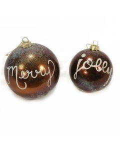 Designer Ornament Group featuring Brown Ornaments with Words and Snow