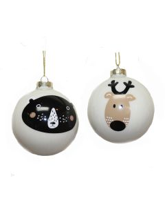 Designer Ornament Group featuring White Glass Ornaments with Black Bear and Deer Head